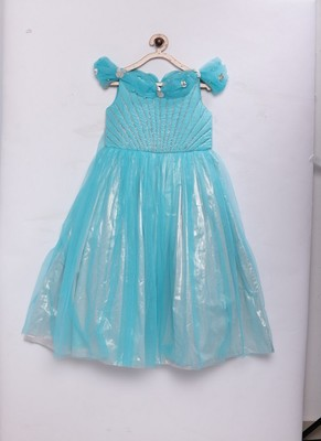 Blue woven faux lawn kids-girl-gowns