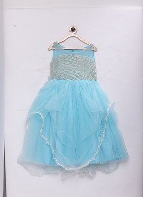 Blue woven net kids-girl-gowns