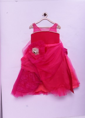 Pink woven crepe kids-girl-gowns