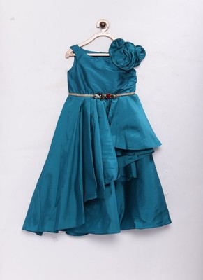 Green woven polyester kids-girl-gowns