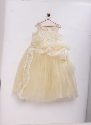 Beige woven net kids-girl-gowns