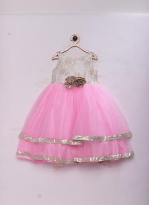Pink woven brocade kids-girl-gowns