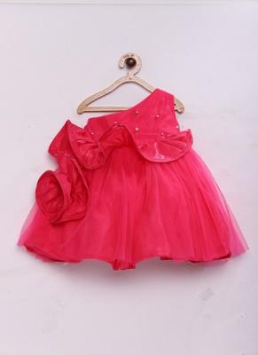 Pink woven raw silk kids-girl-gowns