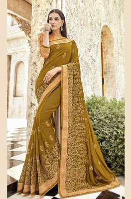 Pear embroidered georgette saree with blouse
