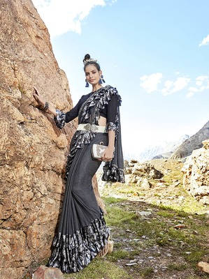 Dark grey embroidered lycra saree with blouse