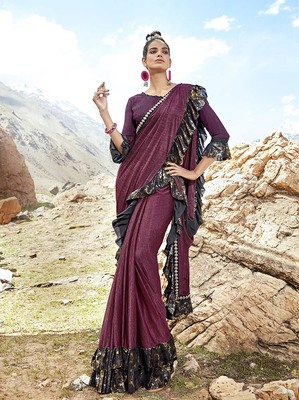 Wine embroidered lycra saree with blouse