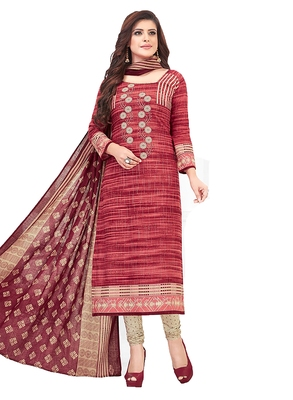 Women's Cotton Maroon & Beige Printed Unstitched Salwar Suit Dress Material With Dupatta