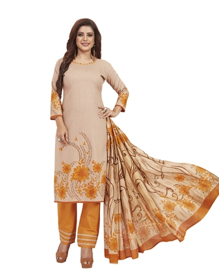 Women's Cotton Beige & Orange Printed Unstitched Salwar Suit Dress Material With Dupatta