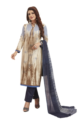 Women's Cotton Beige & Navy Blue Printed Unstitched Salwar Suit Dress Material With Dupatta