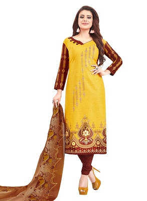 Women's Cotton Mustard & Brown Printed Unstitched Salwar Suit Dress Material With Dupatta