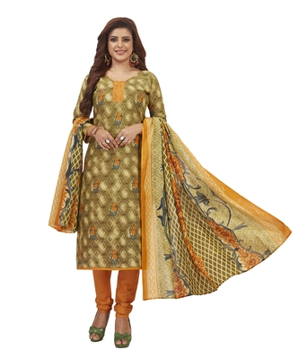 Women's Cotton Green & Orange Printed Unstitched Salwar Suit Dress Material With Dupatta