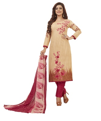 Women's Cotton Beige & Pink Printed Unstitched Salwar Suit Dress Material With Dupatta