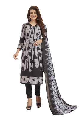Women's Cotton Grey & Black Printed Unstitched Salwar Suit Dress Material With Dupatta