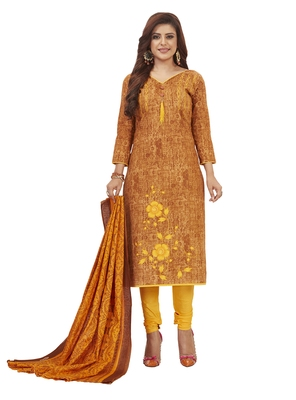 Women's Cotton Brown & Yellow Printed Unstitched Salwar Suit Dress Material With Dupatta
