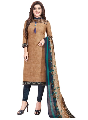 Women's Cotton Brown & Navy Blue Printed Unstitched Salwar Suit Dress Material With Dupatta