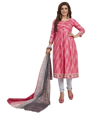 Women's Cotton Pink & Grey Printed Unstitched Salwar Suit Dress Material With Dupatta