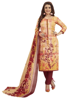 Women's Cotton Orange & Maroon Printed Unstitched Salwar Suit Dress Material With Dupatta