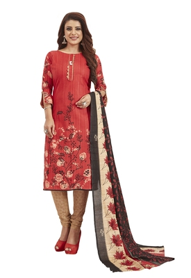 Women's Cotton Red & Beige Printed Unstitched Salwar Suit Dress Material With Dupatta