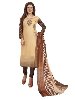 Women's Cotton Beige & Brown Printed Unstitched Salwar Suit Dress Material With Dupatta