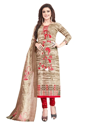 Women's Cotton Brown & Red Printed Unstitched Salwar Suit Dress Material With Dupatta