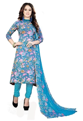 Women's Synthetic Blue Printed Unstitched Salwar Suit Dress Material With Dupatta