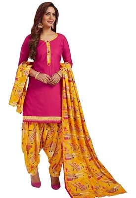 Women's Synthetic Pink & Yellow Printed Unstitched Salwar Suit Dress Material With Dupatta