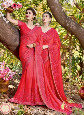 Dark pink embroidered satin saree with blouse