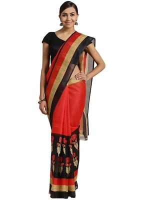 Black Printed poly silk saree with blouse