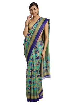 Beige Printed poly silk saree with blouse