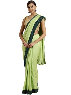 Green embroidered poly silk saree with blouse