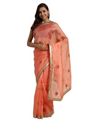 Orange embroidered chanderi saree with blouse