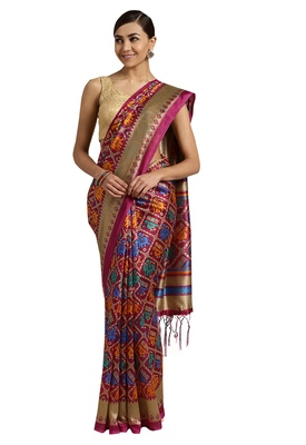Purple Printed poly silk saree with blouse