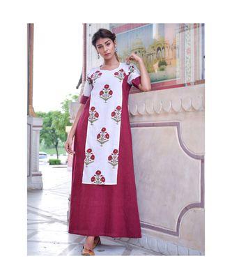 maroon printed cotton dresses