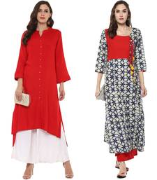 red and blue combo kurtis of rayon and cotton