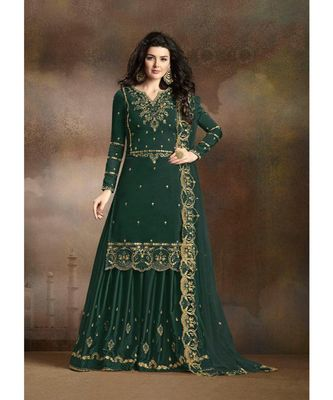 Green Designer Heavy Work Sharara Suit with Net Dupatta