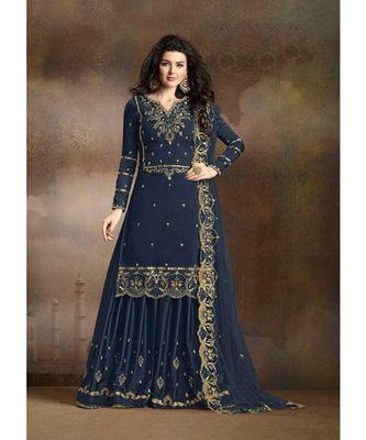 Blue Designer Heavy Work Sharara Suit with Net Dupatta