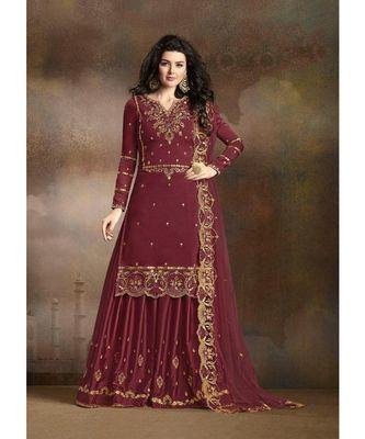Red Designer Heavy Work Sharara Suit with Net Dupatta