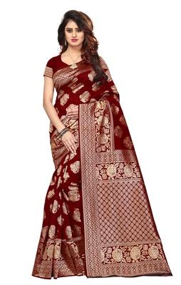 Blissta Women's Woven Maroon Banarasi Saree With Rich Pallu