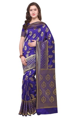 Blissta Women's Woven Blue Banarasi Saree With Rich Pallu