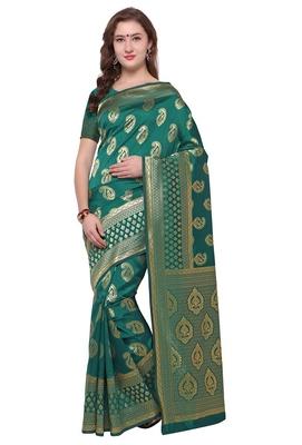 Blissta Women's Rama Woven Banarasi Saree With Rich Pallu