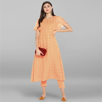 Women's Peach Poly Crepe Kurta With Pant