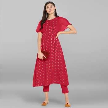 Women's Magenta Poly Crepe Kurta With Pant