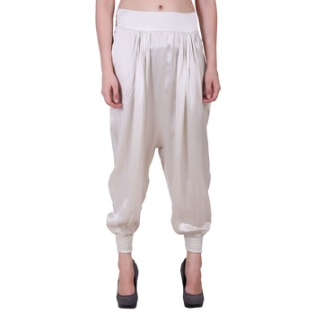 Women Poly Satin White Solid Harem Pants