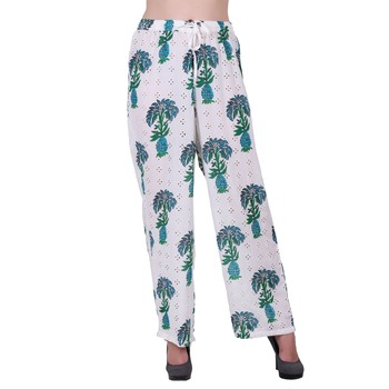 Women Cotton White and Green Printed Palazzo Pants