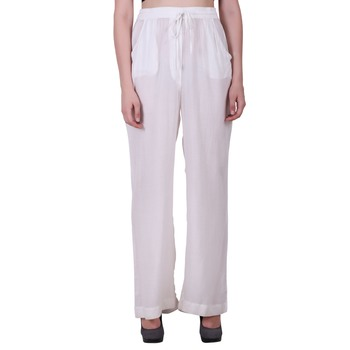 Women Cotton Moss White Solid Palazzo Pants