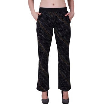 Women Cotton Black Flared Bottom Trouser  Pants With Kantha Embroidery