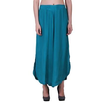 Rayon Sky Blue Flared Bottom Palazzo Pants For Women