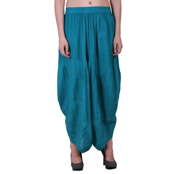 Rayon Sky Blue Harem Pants For Women