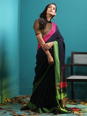 NAVY BLUE PURE COTTON SAREE WITH WOVEN BUTTAS