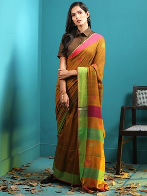 DARK YELLOW PURE COTTON SAREE WITH WOVEN BUTTAS & DUAL BORDERS